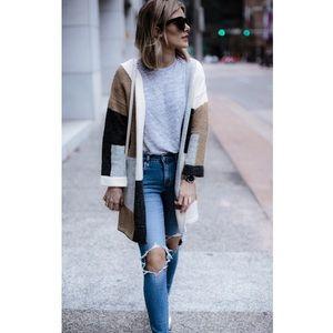 Sweaters - Colorblock open cardigan sweater tan gray cream